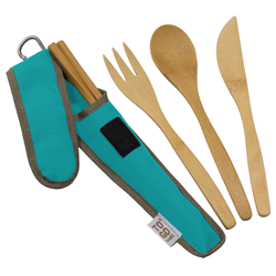bamboo portable fork, knife, spoon, chopstick set