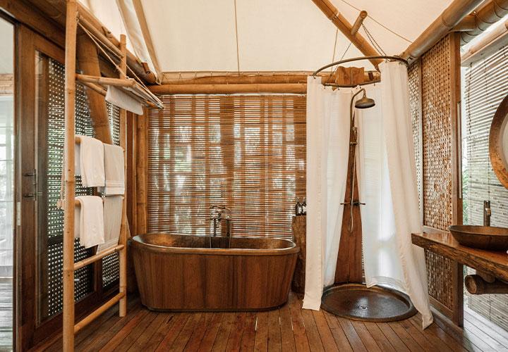 Bathroom at Bawah Indonesia showing use of natural materials
