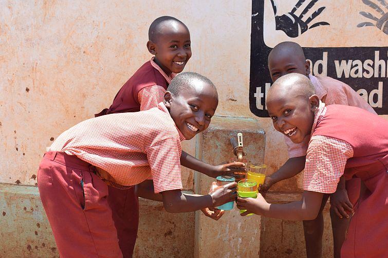 children with clean water