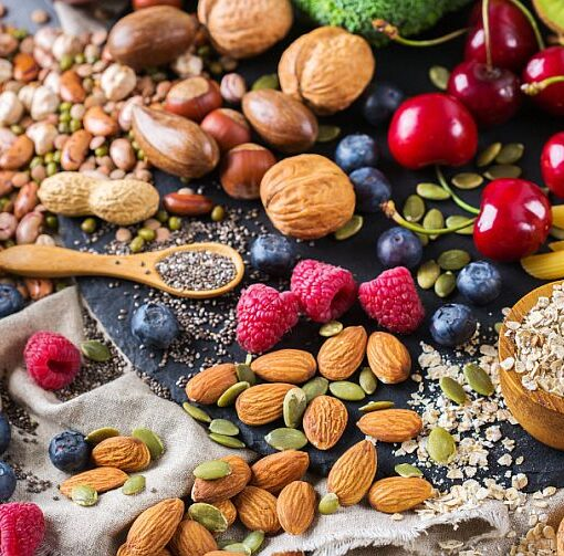 nut, seeds, fruits, wholegrains